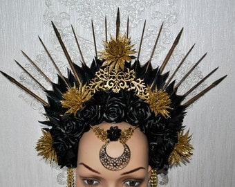 Oriental headpiece -  tribal headpiece - crown  with black roses - feather headpiece - black and golden headpiece