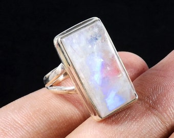 Rainbow Moonstone Ring, Moonstone Ring, Handmade Ring, Gemirthstone Ring, Unique Ring, Designer Ring, Silver Ring, Birthday Gift Ring, Rings