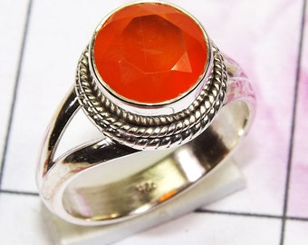 Carneline Ring, Carneline Gemstone, 925 Sterling Silver, Designer Ring, Engagement Ring, Promise Ring, 925 Sterling Silver, Handmade Ring