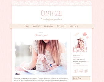 Blogger blog design. Blogger theme. Blogger template. Crafty girl. Responsive. Cute premade theme in camel and pink with lace and washi tape