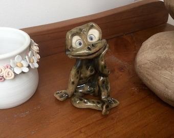 Frog, handmade ceramic green frog, garden ornament, whimsical animal.