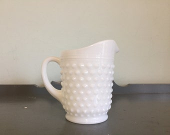 "Small ""Milk White"" Hobnail Milk Glass Pitcher by Anchor Hocking"
