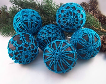 Black & Blue Baubles, Christmas Ornament, Crochet Decoration, Boxed Set, Housewarming Gift, Tree Decoration, Mothers Day, Hanging Decoration