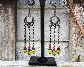 Vintage style long drop earrings, chain chandelier earrings, black finish, goth earrings, gold AB Czech glass beads,  Czech crystal beads