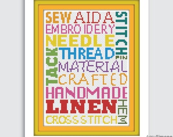 Sewing Typography Cross Stitch Pattern