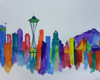 Watercolor Painting Print; Seattle Skyline with Space Needle and Mount Rainier, Washington; Kelly Fleming Smith Art; Signed Matted Mat Print