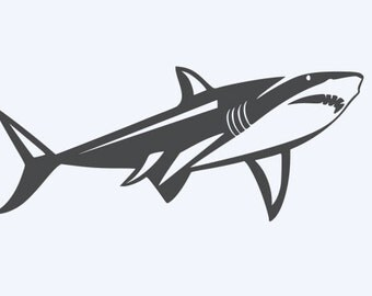 Thin Great White Shark - Di Cut Decal - Car/Truck/Home/Phone/Laptop/Computer Decal