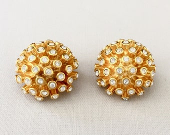 Vintage Joan Rivers Round Clip Button Earrings with Rhinestones in Gold Tone Metal-Wedding,Mother of the Bride, Bridesmaid, Costume Jewelry