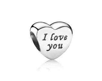 Sterling Silver S925 I Love You Charm Bead for all European Pandora Bracelet