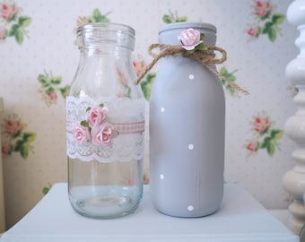 Vintage Shabby Chic Set of 2 Decorated Glass Milk Bottles Grey Pink Rose Lace Dot Bow