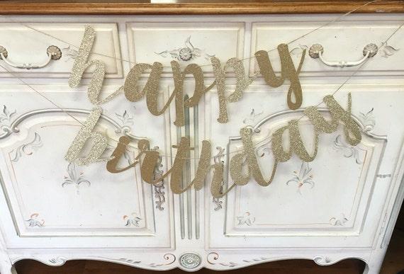 glitter gold or silver calligraphy  u0026 39 happy birthday u0026 39