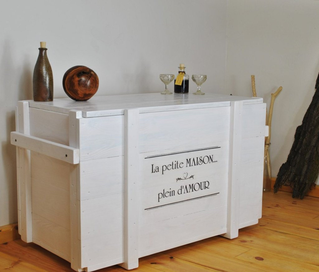 White Trunk Coffee Table With Custom Typography Side Board