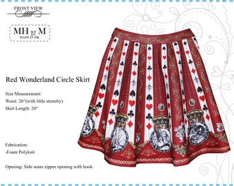 Digital print Blue / Red Wonderland Circle Skirt