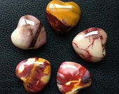 Mookaite Jasper Gemstone Hearts/ hand carved hearts/ puffy hearts/ meditation tool/ crystal hearts/ reiki healing