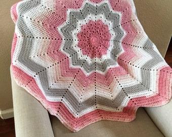 12 Point Star Crochet Girl Baby Blanket