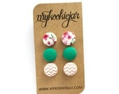Handmade Fabric Covered Button Earrings MINI TRIO - Spring Blossom Spring Flowers Pink Orange and Green, Gift Idea, Boho Earrings