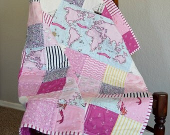 Baby Quilt- Out To Sea, Baby Blanket, Nautical Quilt, Toddler Quilt