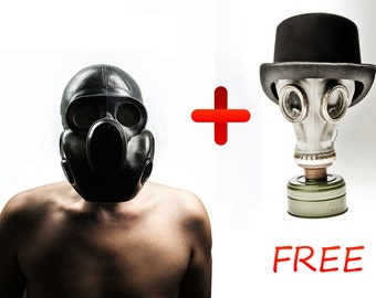 Halloween Black Gas mask PBF-EO19 Scary mask called Gorilla mask. Steampunk. White GP 5 for FREE