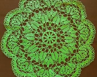 Green crochet doily No.30