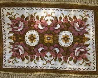 Vintage floral tapestry doily