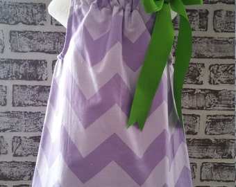 Purple Chevron Pillow Case Dress Size 3T