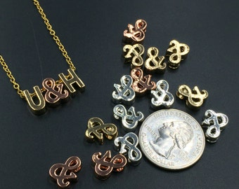 And Ampersand Beads Tiny Ampersand Charm Pendant Necklace Initial Bracelets Beads Personalized Jewelry Supplies 10pcs(gold,silver,rose gold)