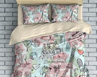 Paris Bedding , Doodles , Eiffel Tower, Pink , Mint Duvet Cover Set