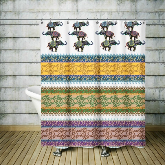 Boho Chic Elephant Shower Curtain Optional Bath By