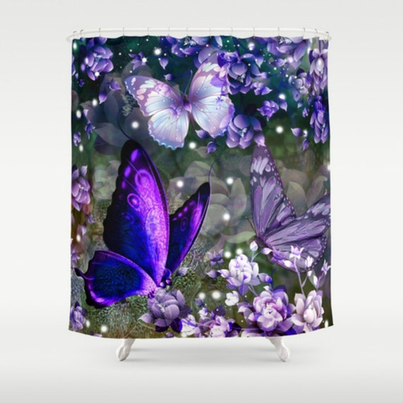 Butterfly Shower Curtain Rich Purple Lavender By Folkandfunky