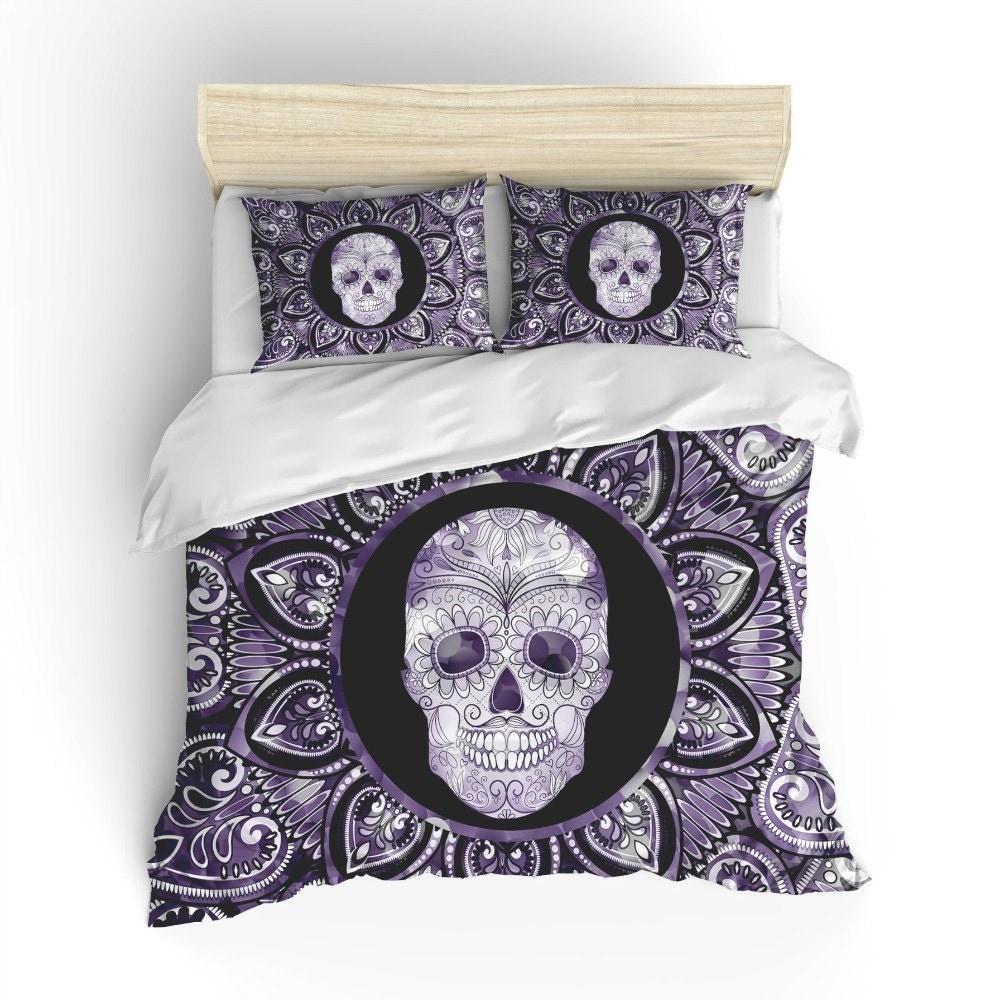 Sugar Skull Bedding Duvet Comforter Cover Set Black Purple