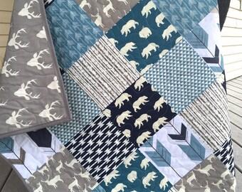 Baby boy bear quilt, bears, arrows, forest, birds, navy-blue-grey-gray