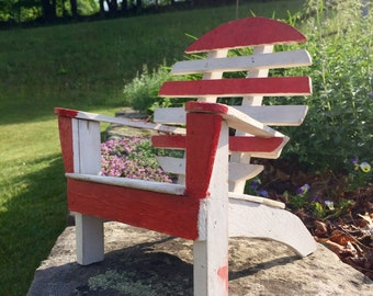 Miniature Adirondack Chair Folk Art Handmade Wooden Chair Doll Chair