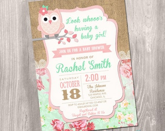 Owl baby shower invitation, girl baby shower invitation, pink owl baby shower, burlap, owl invitation, digital, Printable Invitation