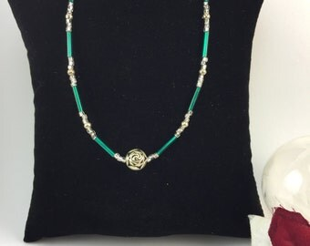 Green and Silver Rose Necklace