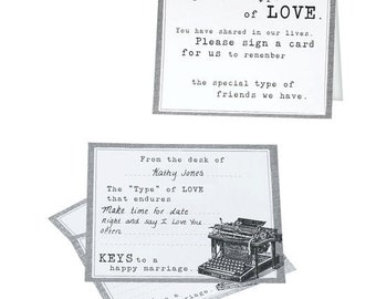 Typewriter Guest Cards Wedding Guest Book Signing Cards Alternative Singing Guest Wishes Book or Anniversary Signing Book For Guests