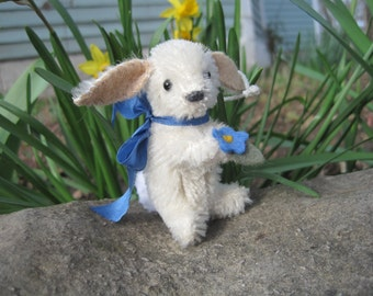 Tiny white Mohair Rabbit Ornament with Flower