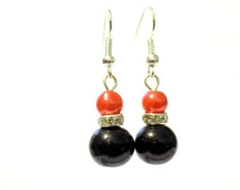 Black and red pearl earrings, red pearl earrings, black pearl earrings, pearl earrings, earrings, dangle earrings, drop earrings