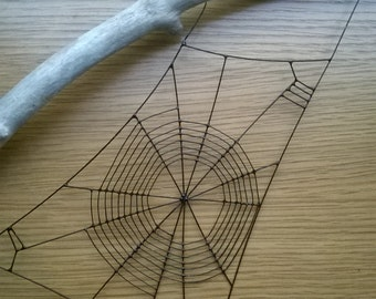 Spider web mounted on driftwood.