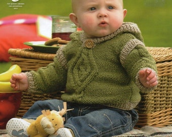 King Cole Baby Sweater, Hoodie & Pullover Aran Knitting Pattern PDF