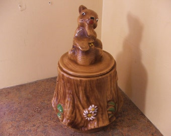 Vintage 1970s California Originals Bear Cub and Honeycomb on Stump Cookie Jar with Lid