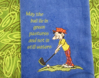 Personalized Golf, Embroidered Golf Towel, Velour/Terry 16X26, Men's Towel, White Terry 16x30