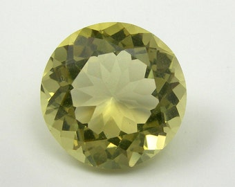 6.77 carat 12.73mm Round Faceted Cut Yellow Color Natural Citrine Gemstone Loose