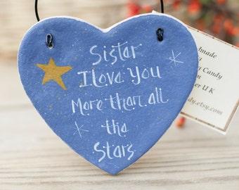 Salt dough primitive personalised hanging heart Sister gift, Personalised thank you gift, Personalized sister birthday gift, Gift for family