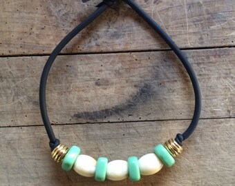 Teal necklace and ivory with polyurethane and acrylic