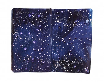 "Fine Art Print - Original Skyscape Painting from Artist Travel Journal - ""Sahara Stars"""