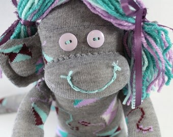 Sock Monkey / Kites / Mint Turquoise Purple Lavender Teal White Grey Green / Purple and Grey Nursery / Mint Green Baby Shower / Unique Gift