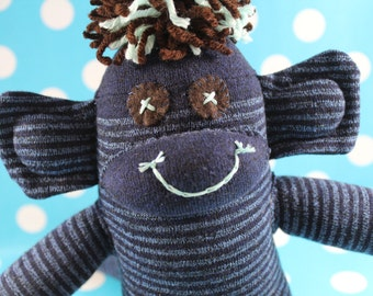 Sock Monkey / Blue, Mint, Chocolate Brown, Felt Eyes for Baby Gift / Striped / Gifts for Baby / Nursery Decor / Baby Shower Gift / Unique
