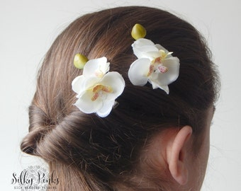 pair of orchid hair accessories ivory hair clips floral hair accessories ivory orchid