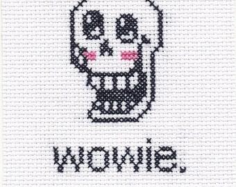 "Undertale cross stitch - Papyrus ""WOWIE"""