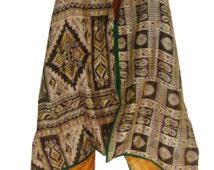 Medium Rust and Black Boho Chic, Silk Summer, Indian Kantha work  Jacket - KJ016